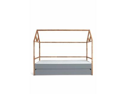 Detská posteľ domček JULKO sivá 200x90 so zásuvkou
