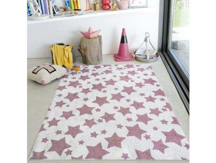 Detský koberec ružový so vzorom Fay 04