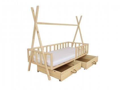 Detská borovicová posteľ Tipi 180x80