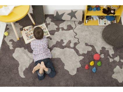 Prateľný koberec World Map 140x200