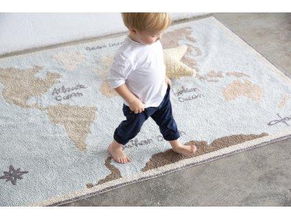 Prateľný koberec Vintage Map 140x200