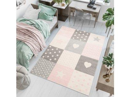 Detský koberec Ruth White/Rose