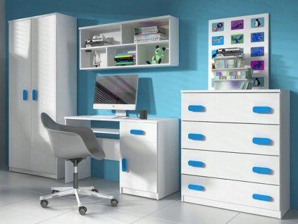 Nábytková stena Svend - biela,modrá