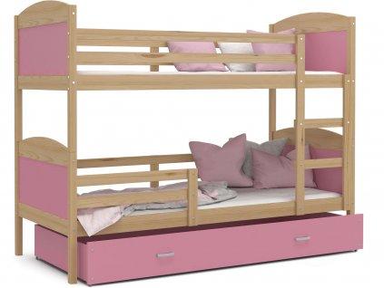Poschodová posteľ Matúš 2 Color Ružová