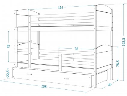 Poschodová posteľ Matúš 2 Ružová