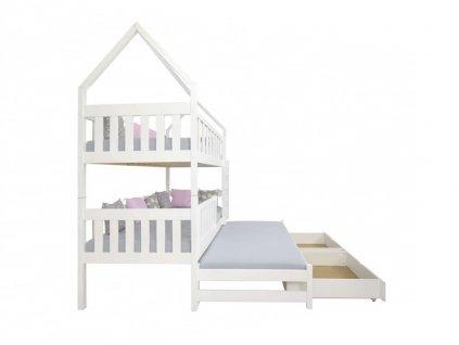 Poschodová posteľ s prístelkou Domček 200x90 - biela