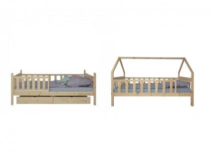 Poschodová posteľ Domček 200x90 - prírodná
