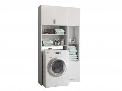 Skrinka nad práčku s regálom - biela