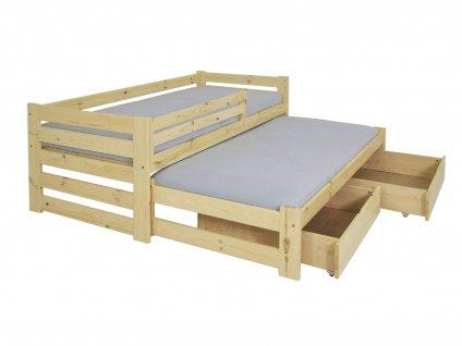 Detská posteľ s prístelkou Veronika 7 90x200 - prírodná