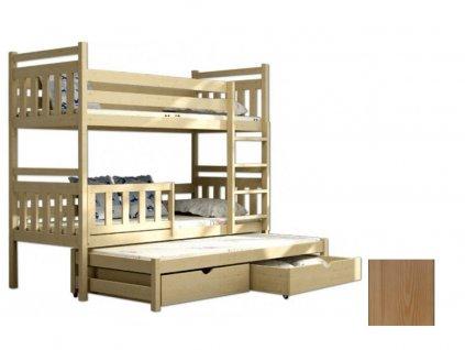 Poschodová posteľ s prístelkou Petra 5 200x90