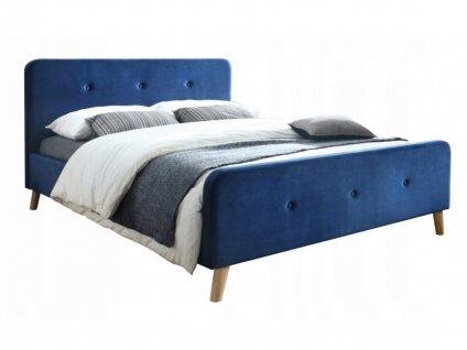 Manželská posteľ Letto Velvet- modrá