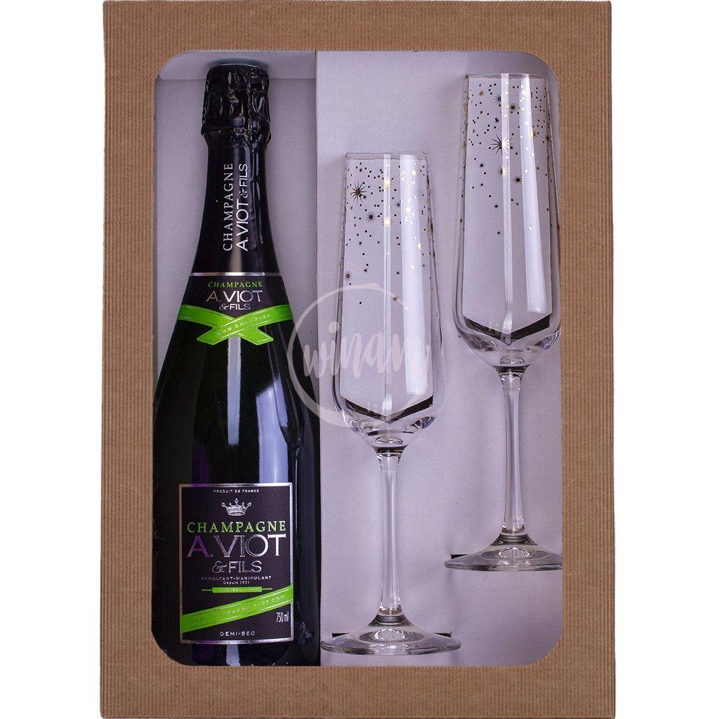 Dárkové balení - šampaňské se skleničkami