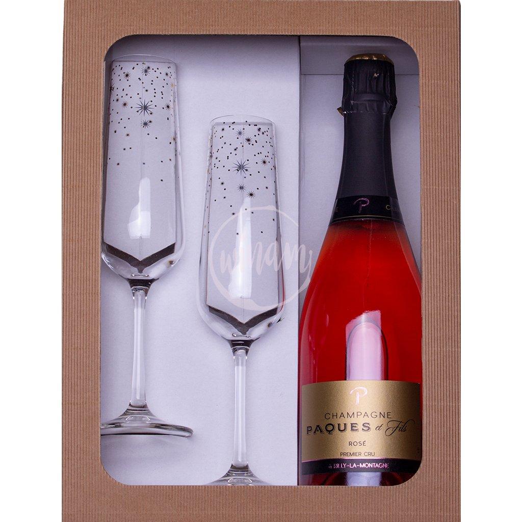 sampanske 1er cru paques rose sklenicky