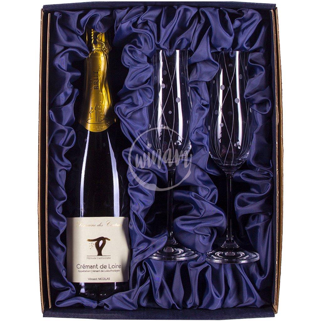 Dárkové balení - šumivé víno a skleničky