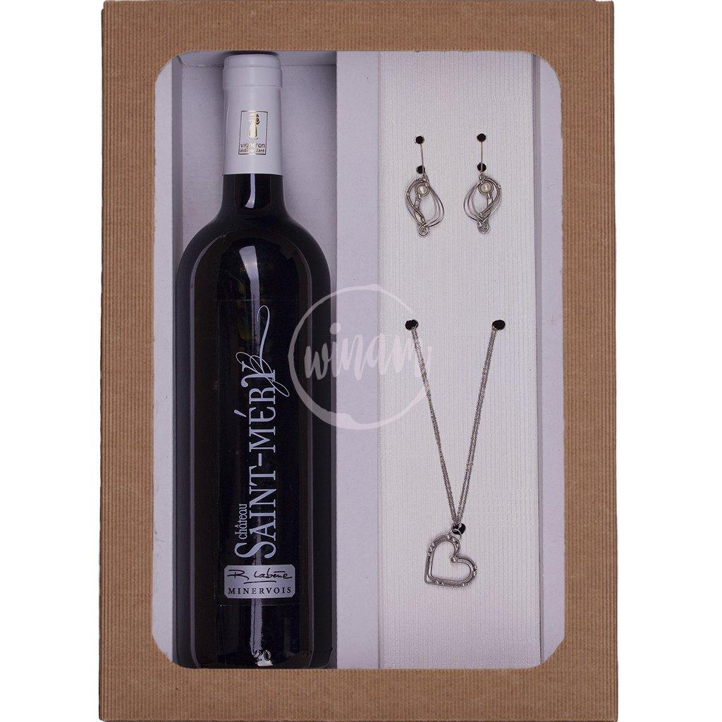 Dárkové balení vína s nerezovými šperky