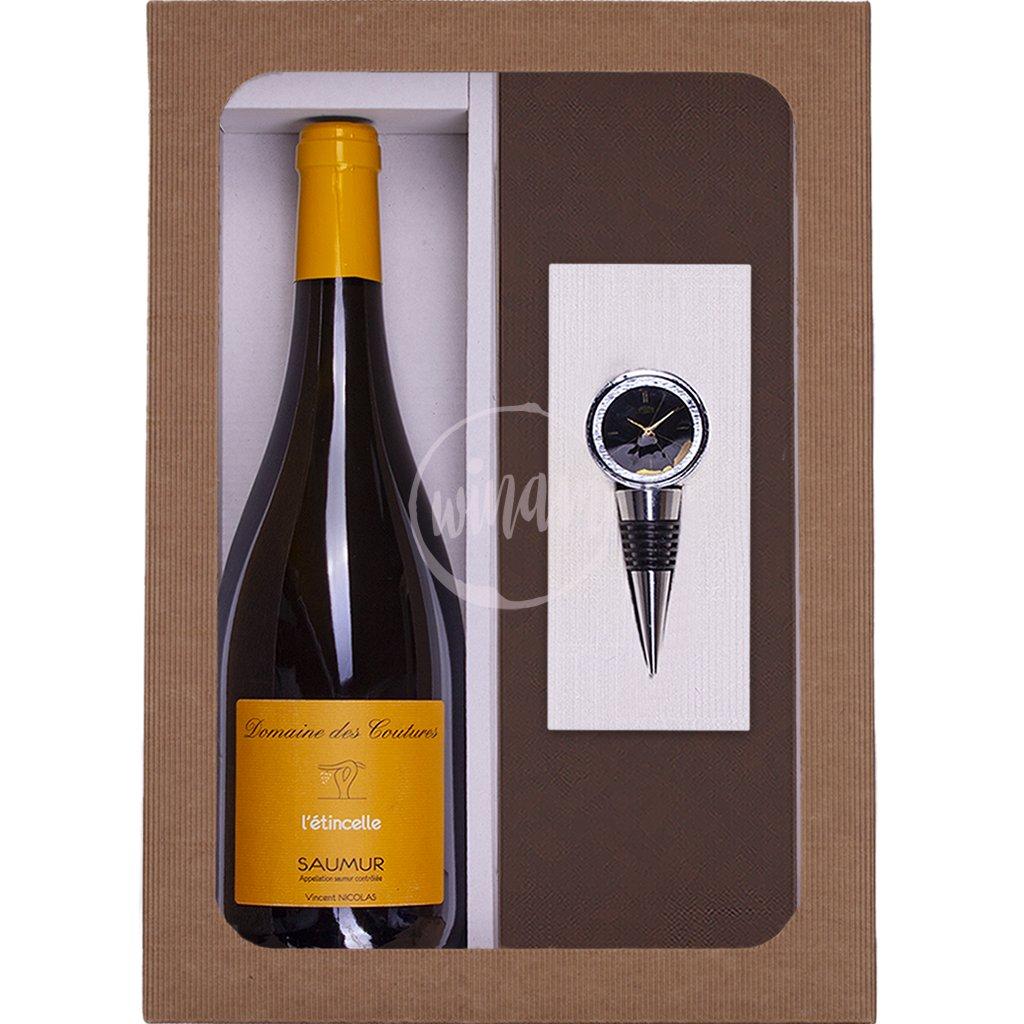 Originální dárek - víno se zátkou s ciferníkem PRIM