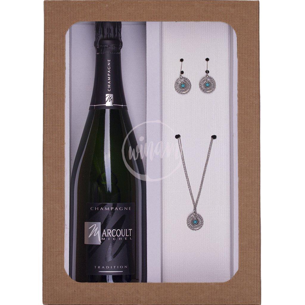 Luxusní sada šampaňského a šperků pro ženy