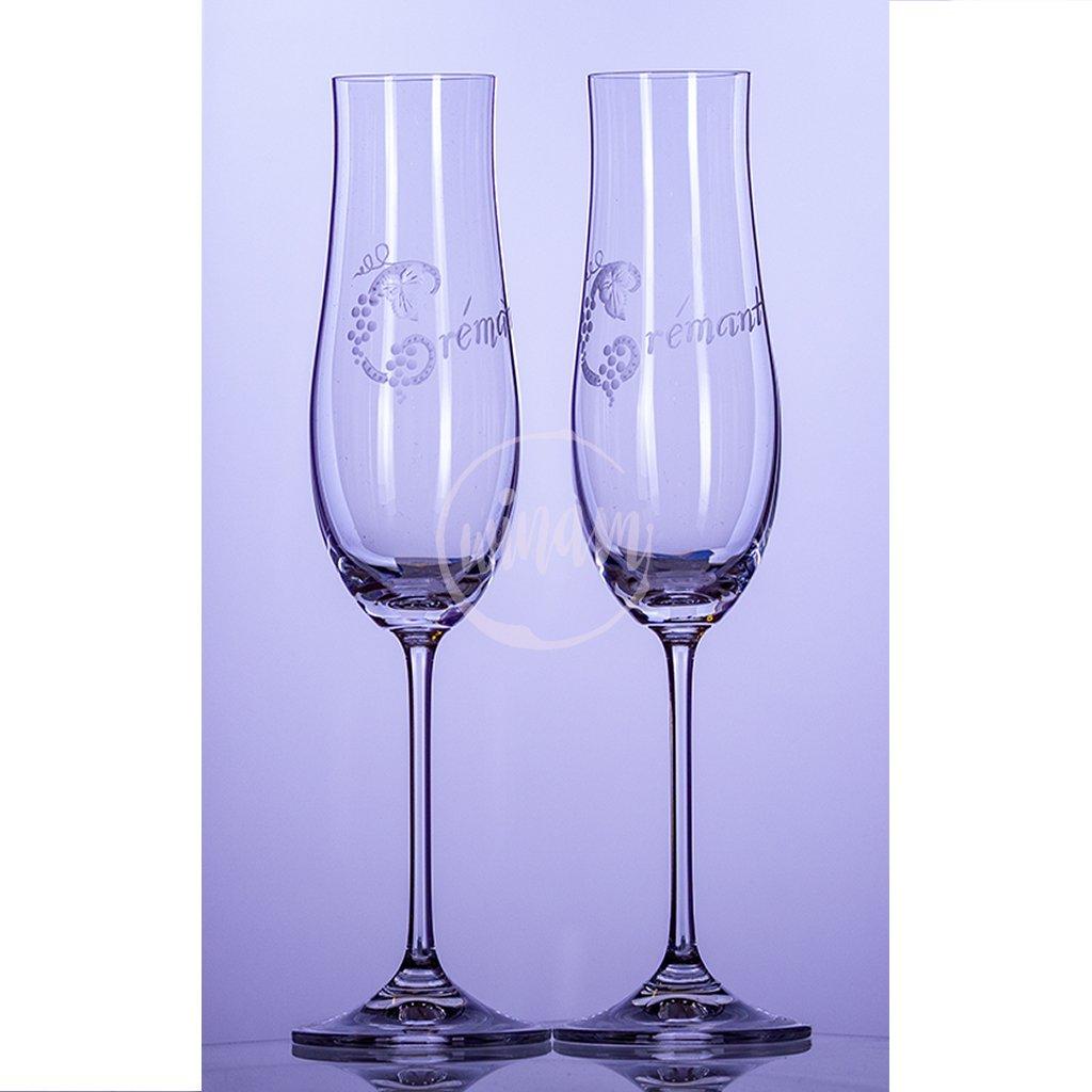 skleničky na šumivé víno flétna crémant