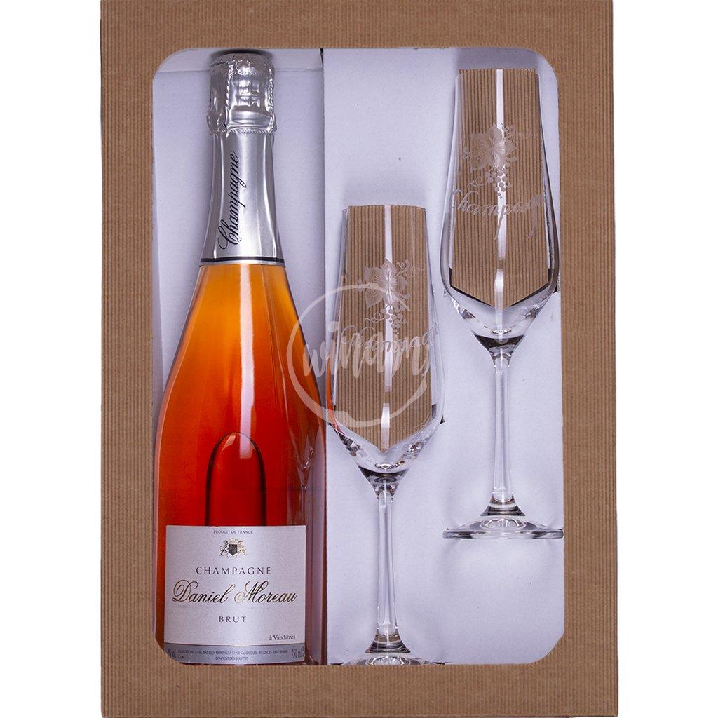 Růžové šampaňské v dárkové kazetě