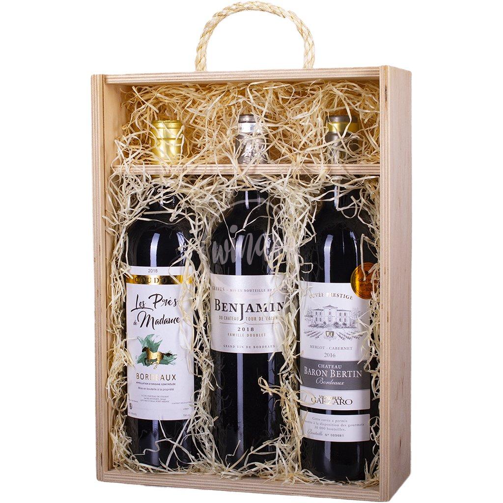 Trio červených cuvée z Bordeaux