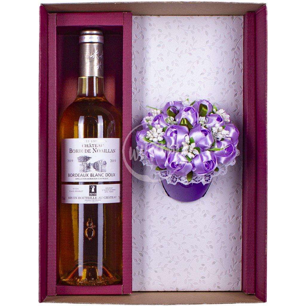 Sladké bílé víno s kytičkou