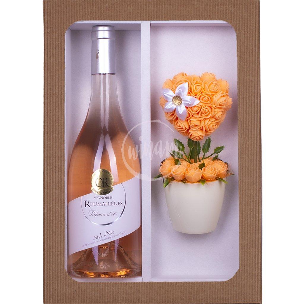 Růžové víno s kytičkou jako dárek