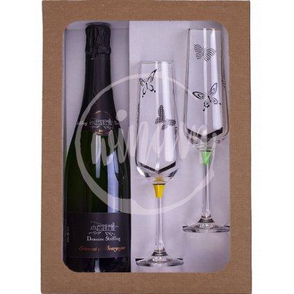 Dárková sada - víno a skleničky