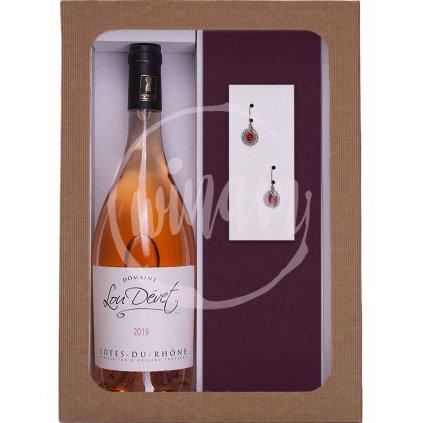 Dárkový set - víno a náušnice