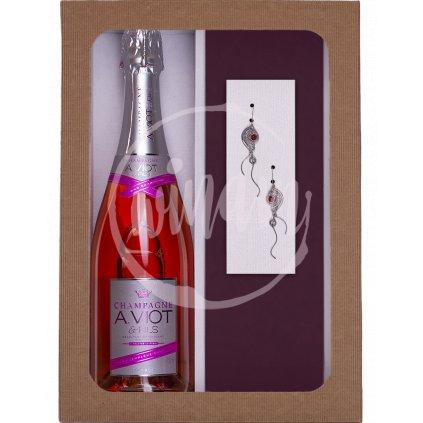 Dárková sada šampaňské a náušnice