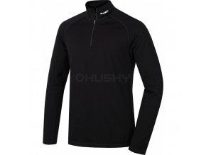 HUSKY MERINO pánské triko zip černé