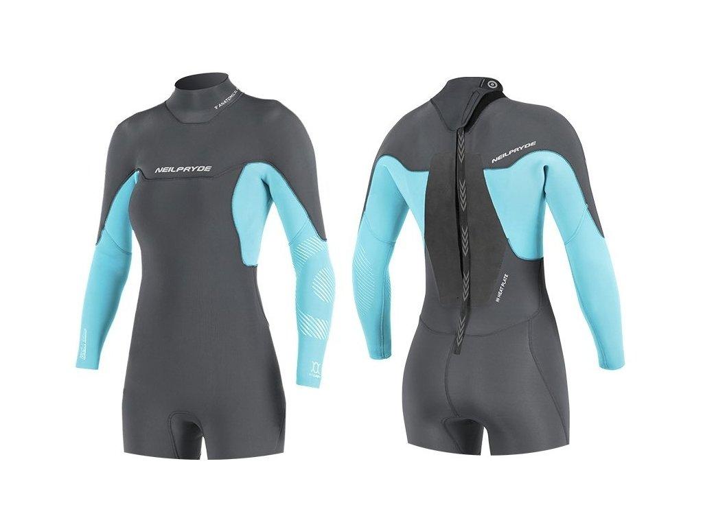 neopren dlouhy rukav kratke nohavice neilpryde damsky blue black windsurfign karlin