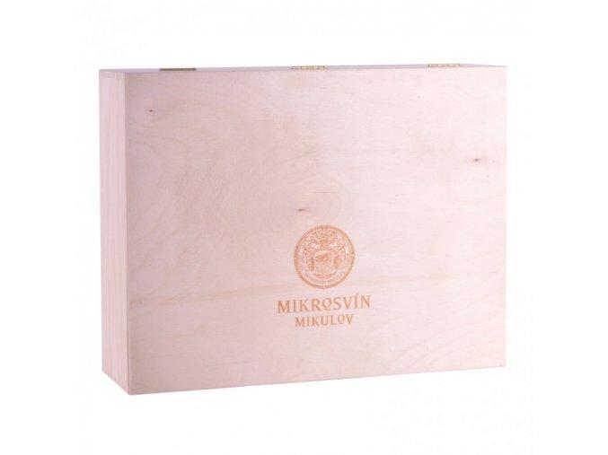 Dárková dřevěná kazeta na 3 láhve vinařství Mikrosvín