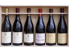 Châteauneuf du Pape - sada 6 vín v dřevěné krabici, 6x0,75l