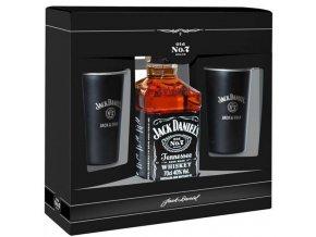 Jack Daniel´s No.7 + 2 plechové hrnky, Gift Box, 0,7l