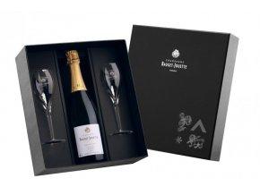 Champagne Bauget-Jouette - sada 2 skleniček + láhev Blanc de Blanc, 0,75l
