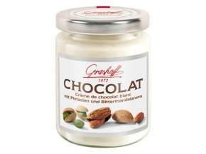 Bílý čokoládový krém s pistáciemi a mandlovým aroma, sklo, 235g