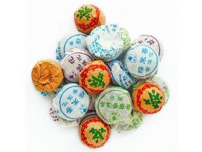 Pu Er -Rodinné balení čajů Pu Er Mini Tuo Cha (lněný měšec) ,200g