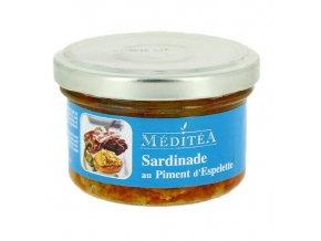 """Franc.specialita ze sardinek """"Sardinade"""" s pal.paprikou Espelette a suš.rajčat, sklo 90g"""