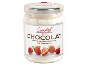 Bílý čokoládový krém s jahodami, sklo, 250g