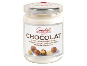 Bílý čokoládový krém s praženými makadamovými oříšky, sklo, 235g