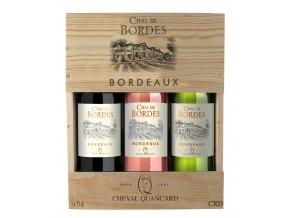 Bordeaux Chail de Bordes Rouge, Blanc, Rosé, dřevěná kazeta, 3x0,75l