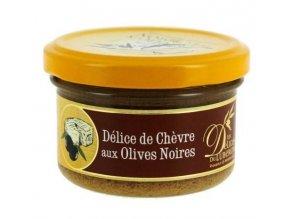 Pochoutka s kozím sýrem a černými olivami, sklo 90g