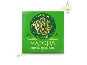 Čokoláda Willie's bílá MATCHA, Kotobuki green tea, 50g