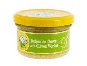 Pochoutka s kozím sýrem a zelenými olivami, sklo 90g
