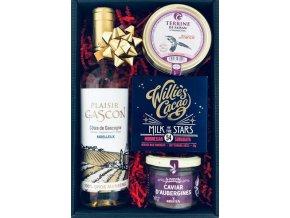 """Dárkový koš """"Vánoční degustační set"""" s bílým vínem"""