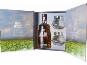 Maja Rum 8 YO, dárková kazeta + 2 skleničky, 40%, 0,7l
