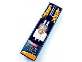 Dárkový koš Gurmanské blahopřání s bílým vínem
