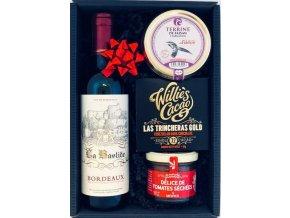 """Gourmet Partners Dárkový koš """"Degustační set"""" s čeveným vínem"""
