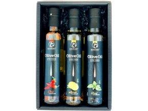 Gourmet Partners Triáda olivových olejů s příchutí: bazalka, citron, chilli 3x250ml.