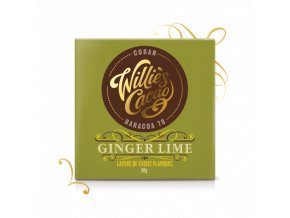 Willie's Cacao Čokoláda Willie's Ginger Lime hořká se zázvorem a limetkou 70%, 50g